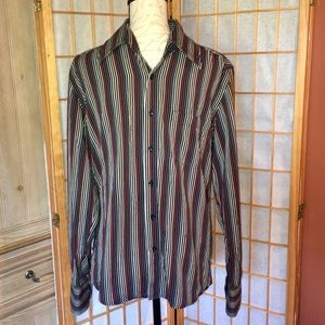Kenneth Cole Multi-Color Stripe Button Down Sz Med